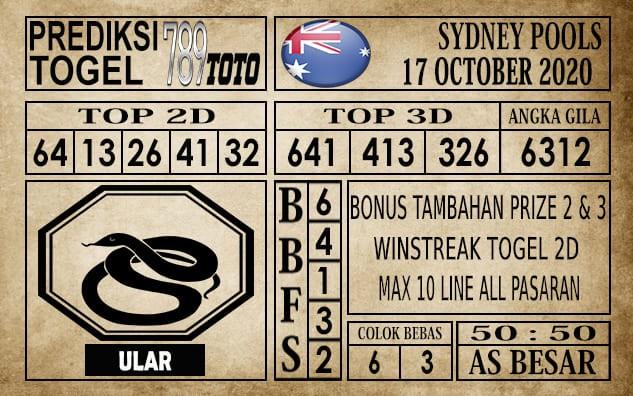 Prediksi Sydney Pools Hari Ini 17 Oktober 2020