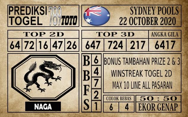 Prediksi Sydney Pools Hari Ini 22 Oktober 2020