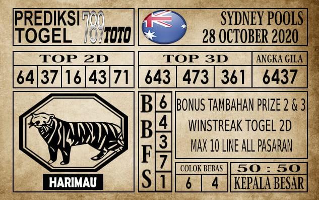 Prediksi Sydney Pools Hari Ini 28 Oktober 2020