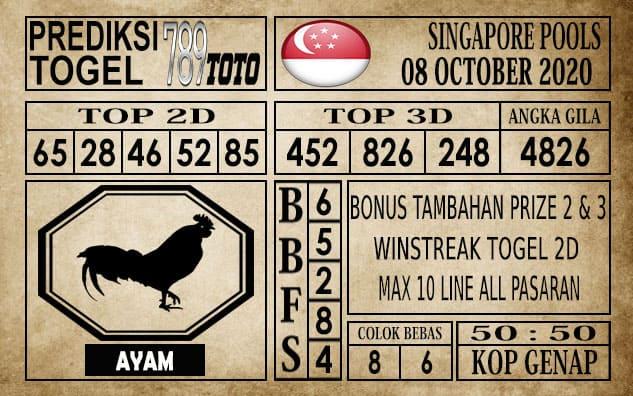 Prediksi Singapore Pools Hari ini 08 Oktober 2020