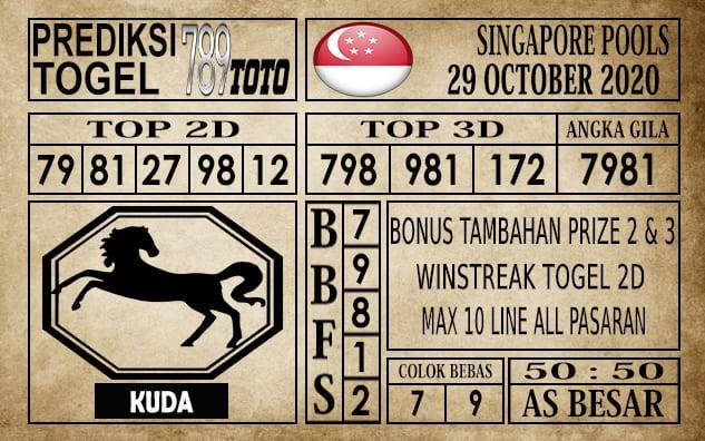 Prediksi Singapore Pools Hari ini 29 Oktober 2020
