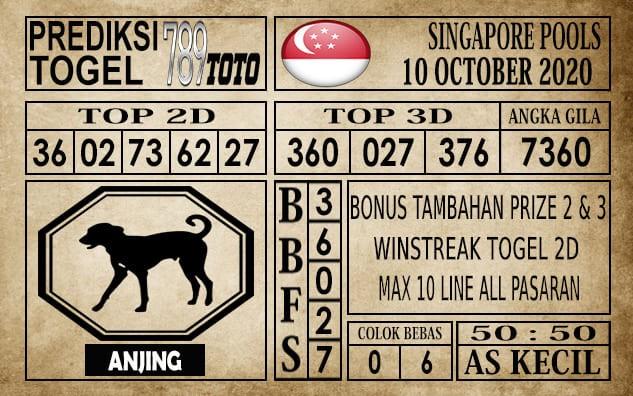 Prediksi Singapore Pools Hari ini 10 Oktober 2020