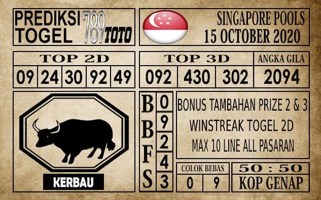 Prediksi Singapore Pools Hari ini 15 Oktober 2020
