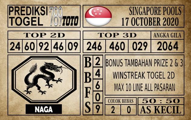 Prediksi Singapore Pools Hari ini 17 Oktober 2020
