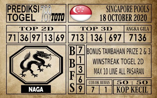 Prediksi Singapore Pools Hari ini 18 Oktober 2020