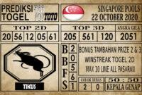 Prediksi Singapore Pools Hari ini 22 Oktober 2020