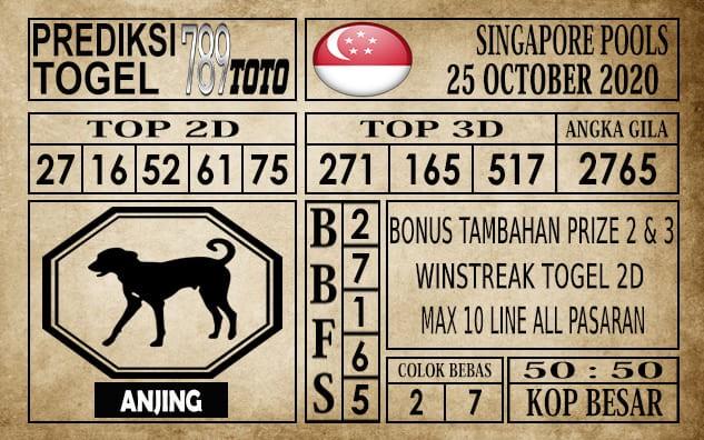 Prediksi Singapore Pools Hari ini 25 Oktober 2020