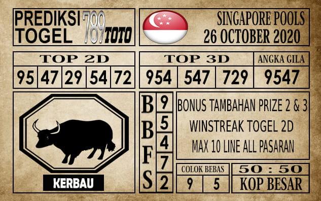 Prediksi Singapore Pools Hari ini 26 Oktober 2020