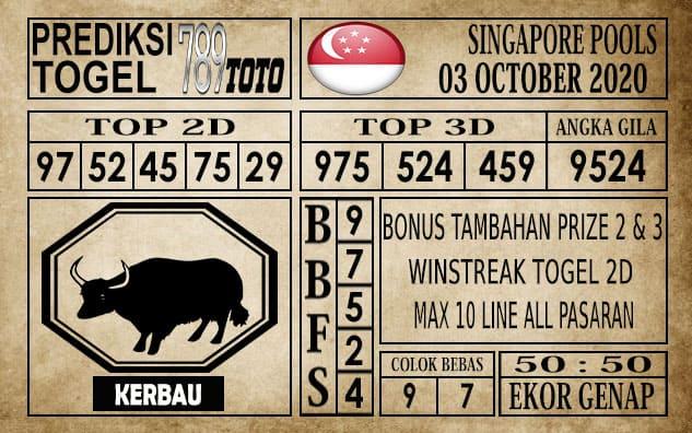 Prediksi Singapore Pools Hari ini 04 Oktober 2020