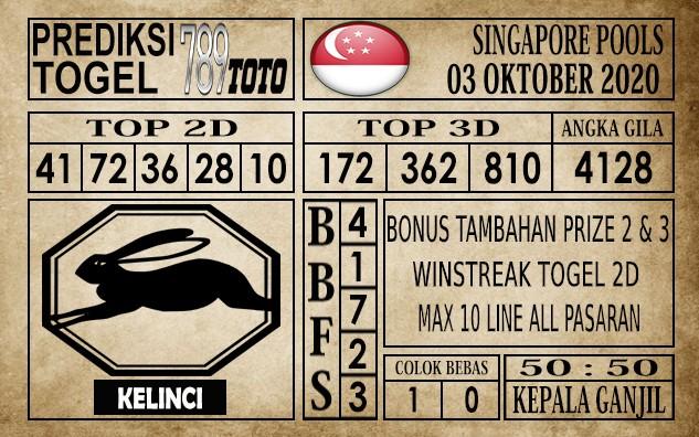 Prediksi Singapore Pools Hari ini 03 Oktober 2020