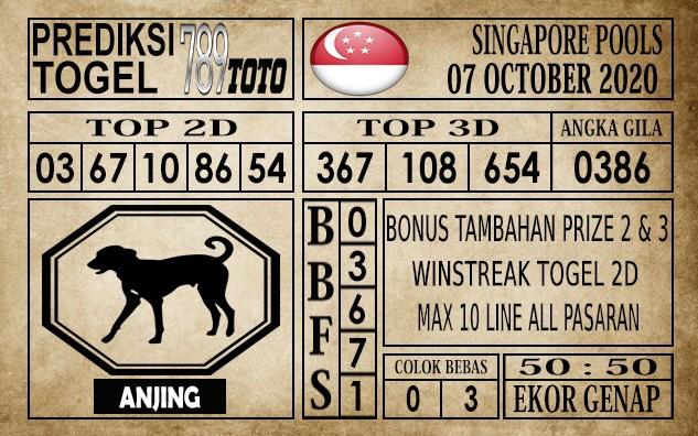 Prediksi Singapore Pools Hari ini 07 Oktober 2020