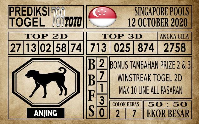 Prediksi Singapore Pools Hari ini 12 Oktober 2020