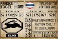 Prediksi Thailand Lottery Hari Ini 16 Oktober 2020