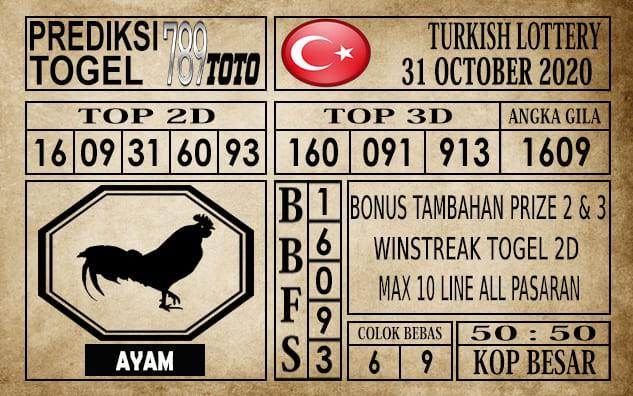 Prediksi Turkish Lottery Hari Ini 31 Oktober 2020