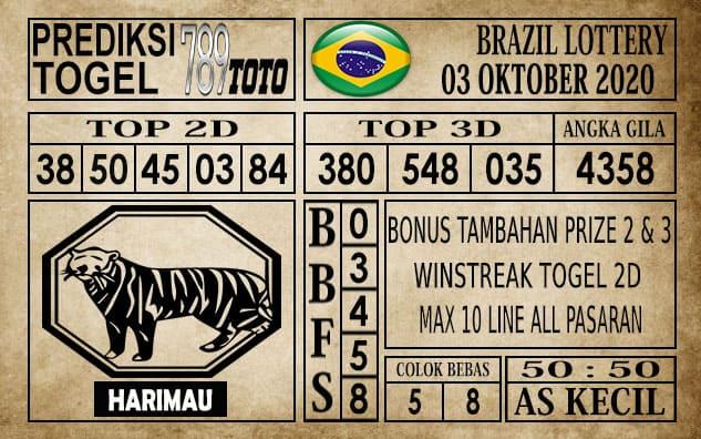 Prediksi Brazil Lottery Hari Ini 03 Oktober 2020