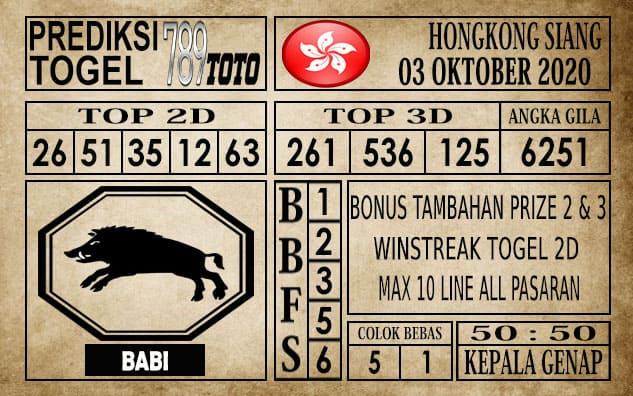 Prediksi Hongkong Siang Hari ini 03 Oktober 2020