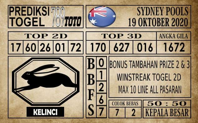 Prediksi Sydney Pools Hari ini 19 Oktober 2020