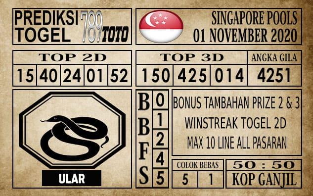Prediksi Singapore Pools Hari ini 01 November 2020