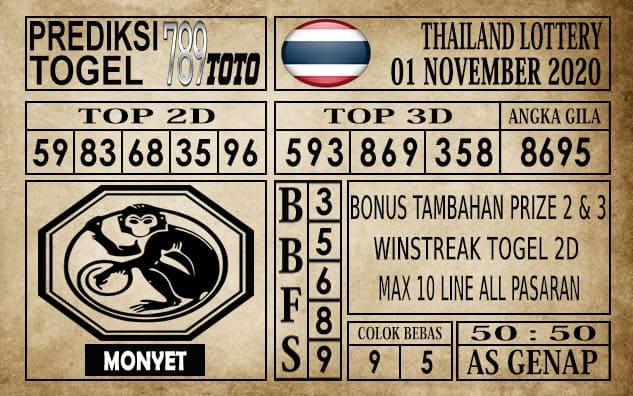 Prediksi Thailand Lottery Hari Ini 01 November 2020