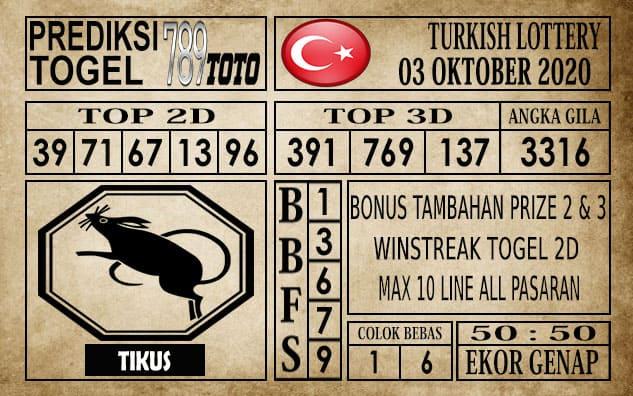 Prediksi Turkish Lottery Hari ini 03 Oktober 2020