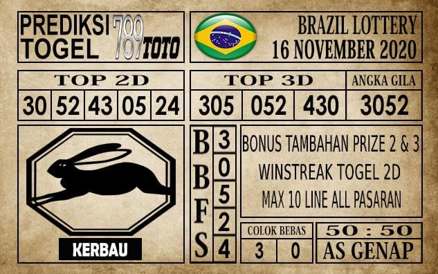 Prediksi Brazil Lottery Hari Ini 16 November 2020