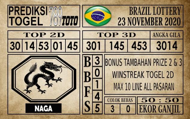 Prediksi Brazil Lottery Hari Ini 23 November 2020