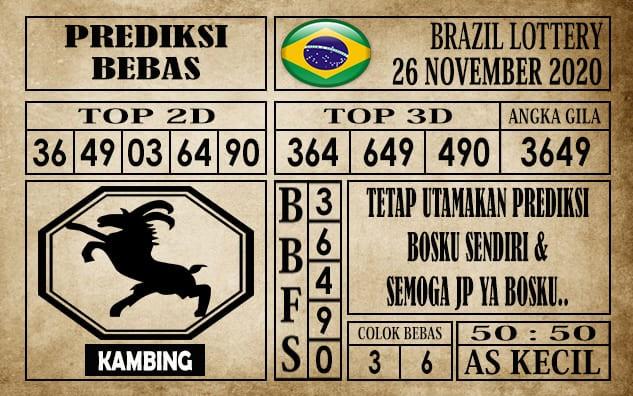 Prediksi Brazil Lottery Hari Ini 26 November 2020 terupdate selalu dihadirkan sebagai pertimbangan untuk pecinta togel online dalam meracik angka unggulan
