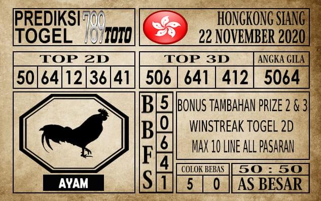 Prediksi Hongkong Siang Hari Ini 22 November 2020