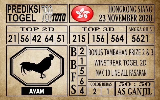 Prediksi Hongkong Siang Hari Ini 23 November 2020
