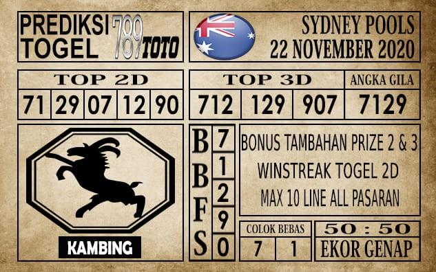 Prediksi Sydney Pools Hari Ini 22 November 2020