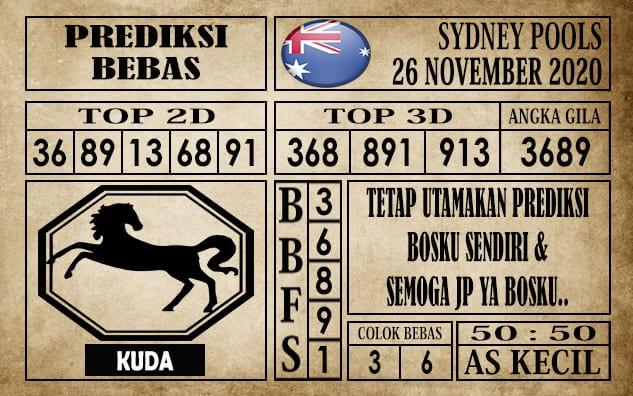 Prediksi Sydney Pools Hari Ini 26 November 2020 terupdate selalu dihadirkan sebagai pertimbangan untuk pecinta togel online dalam meracik angka unggulan