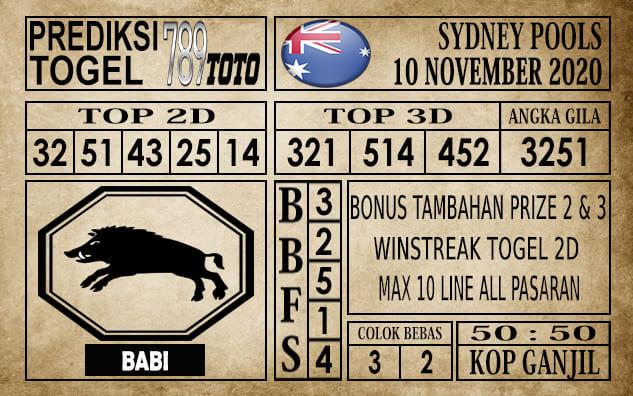 Prediksi Sydney Pools Hari Ini 10 November 2020