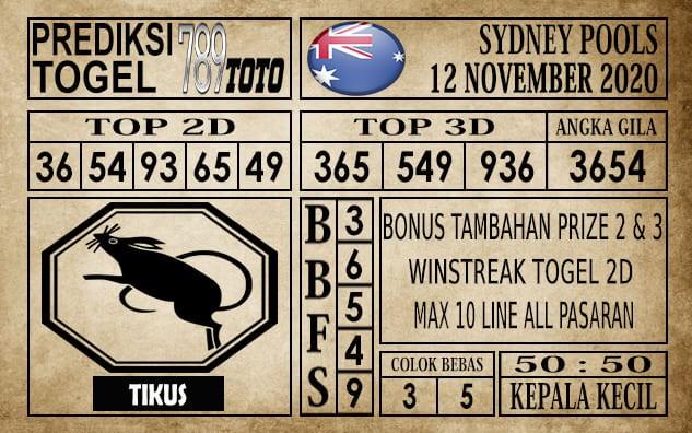 Prediksi Sydney Pools Hari Ini 12 November 2020
