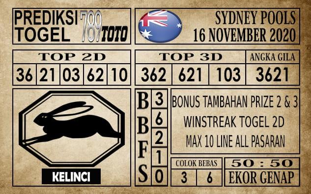Prediksi Sydney Pools Hari Ini 16 November 2020