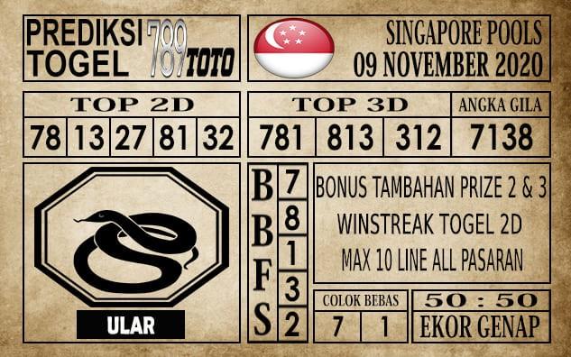 Prediksi Singapore Pools Hari ini 09 November 2020