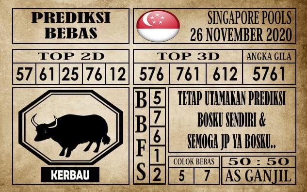 Prediksi Singapore Pools Hari ini 26 November 2020 terupdate selalu dihadirkan sebagai pertimbangan untuk pecinta togel online dal am meracik angka unggulan