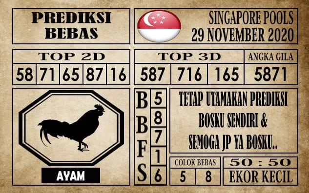 Prediksi Singapore Pools Hari ini 29 November 2020