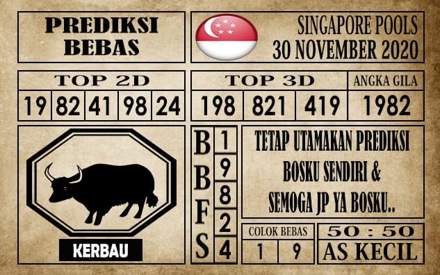 Prediksi Singapore Pools Hari ini 30 November 2020