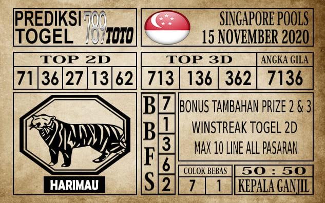 Prediksi Singapore Pools Hari ini 15 November 2020