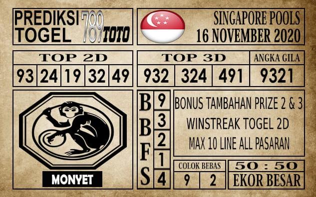 Prediksi Singapore Pools Hari ini 16 November 2020
