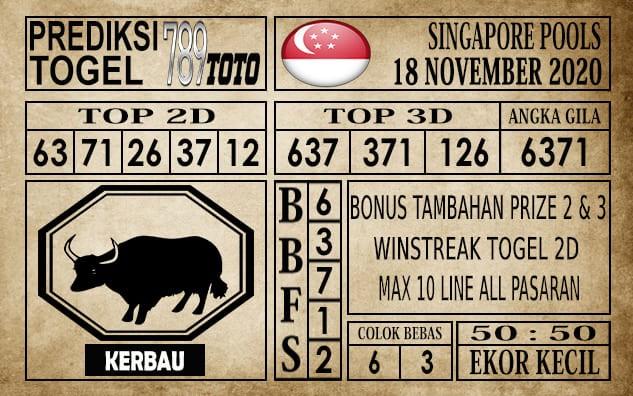 Prediksi Singapore Pools Hari ini 18 November 2020