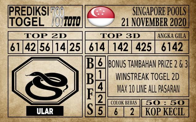 Prediksi Singapore Pools Hari ini 21 November 2020