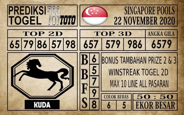 Prediksi Singapore Pools Hari ini 22 November 2020