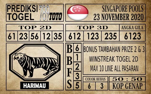 Prediksi Singapore Pools Hari ini 23 November 2020