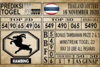 Prediksi Thailand Lottery Hari Ini 16 November 2020