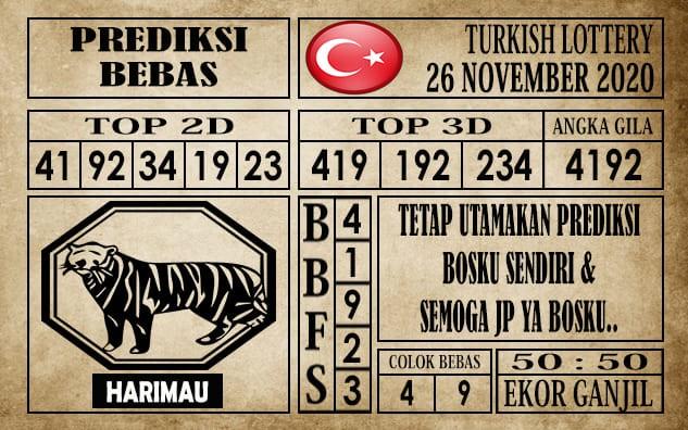 Prediksi Turkish Lottery Hari Ini 26 November 2020 terupdate selalu dihadirkan sebagai pertimbangan untuk pecinta togel online dalam meracik angka unggulan