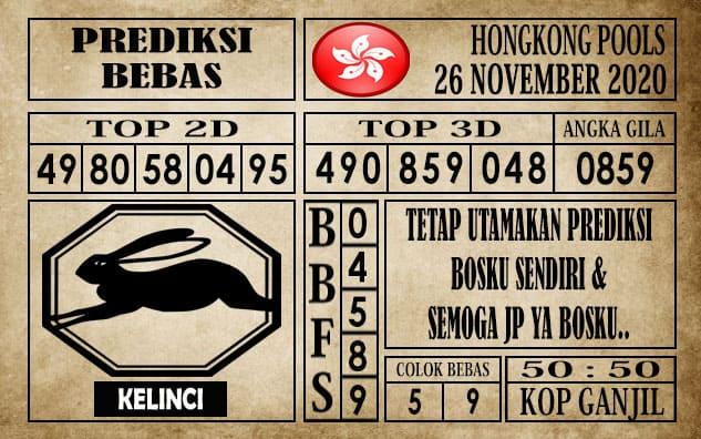 Prediksi Hongkong Pools Hari Ini 26 November 2020