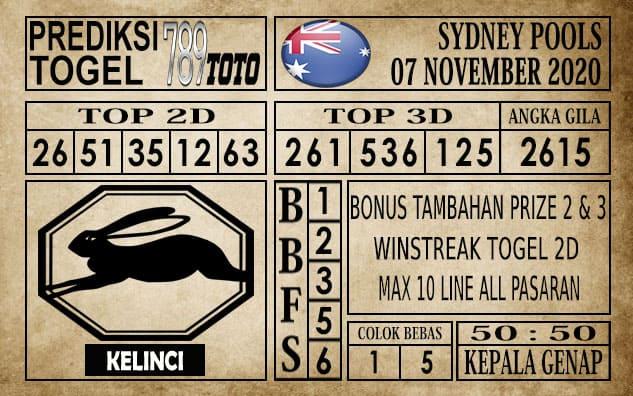 Prediksi Sydney Pools Hari ini 07 November 2020