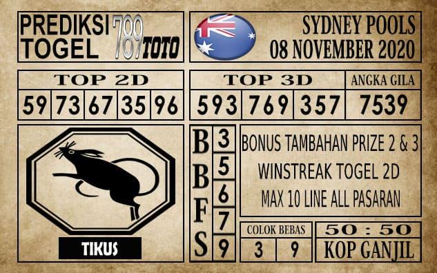 Prediksi Sydney Pools Hari ini 08 November 2020