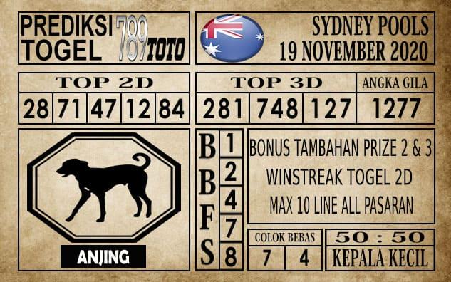 Prediksi Sydney Pools Hari ini 19 November 2020